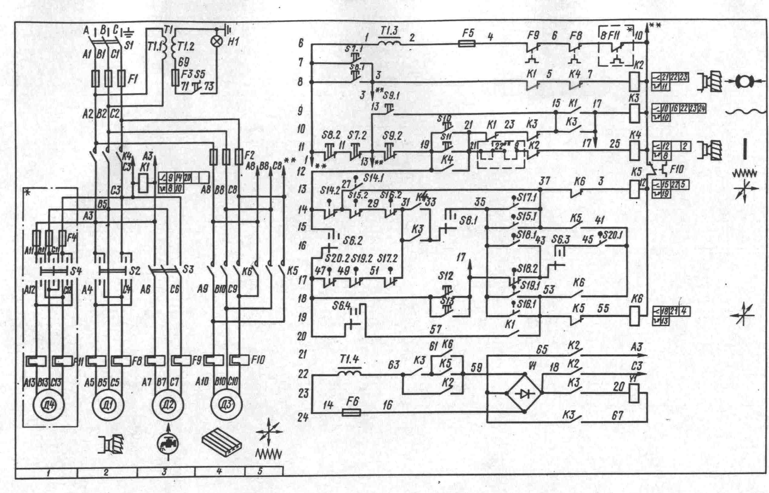 Электросхема фрезерного станка.  Электрооборудование фрезерных станков.