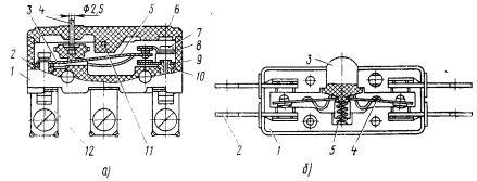 Микровыключатели: а — серии МП6000, б — типа ВП61