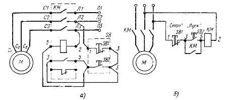 В этой схеме включение одного из контакторов, приводит к размыканию цепи питания катушки другого контактора КМ2...