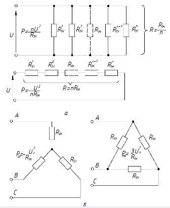 Схемы включения нагревательных секций: а и б - одно- и трёхфазных электронагревательных устройств