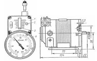 Общий вид центробежного тахометра типа ИО-10 и тахогенератора: 1 – шкала; 2 – кнопка переключения; 3 – указатель пределов; 4 – циферблат