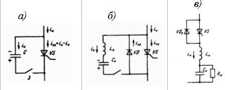 Способы искусственной коммутации тиристоров: а) – посредством заряженного конденсатора С; б) – посредством колебательного разряда LC-контура; в) – за счёт колебательного характера нагрузки
