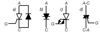 Условно-графическое обозначение тиристоров на схемах
