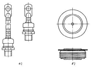 Конструкция корпусов диодов: а – штыревая; б – таблеточная