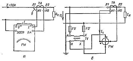 Схемы включения ваттметра в цепь переменного тока с большим током (а) и в высоковольтную сеть (б).