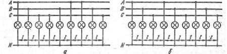 Схемы включения равноудаленных светильников наружного освещения: а - правильная, б - неправильная