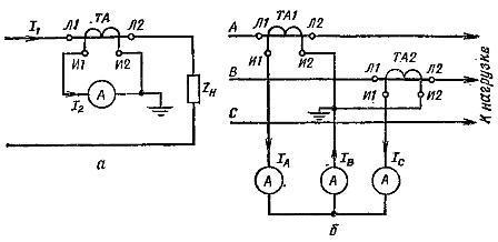 Схема подключения амперметра в трансформаторе тока
