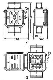 Ящик силовой типа ЯВ3: а - общий вид ящика, б - ящик ЯВ3 с открытой дверцей