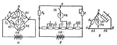 Схемы одинарных измерительных мостов постоянного тока