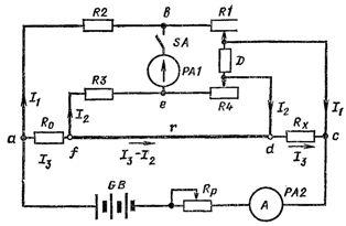Схема двойного измерительного моста постоянного тока