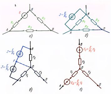 Преобразование треугольника сопротивлений с источником напряжения в эквивалентную звезду