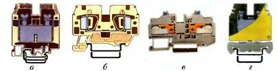 Типы клеммных соединений: а - винтовые; б - пружинные; в - для быстрого соединения; г винтовые для заземления