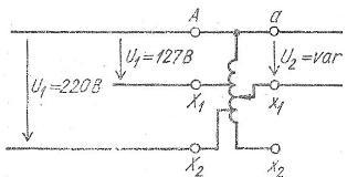 Схема лабораторного регулируемого однофазного автотрансформатора