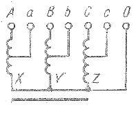Схема трехфазного автотрансформатора с соединением фаз обмотки звездой с выведенной нейтральной точкой