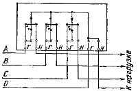 Схема включения трехэлементного счетчика в четырехпроводную сеть