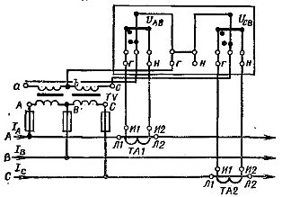 Схема включения двухэлементного счетчика активной энергии в высоковольтную сеть