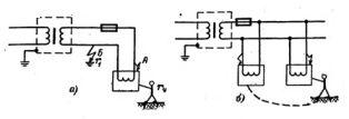 Включение разделяющего трансформатора (а) Двойное замыкание в сети, питающейся через разделяющий трансформатор (б)