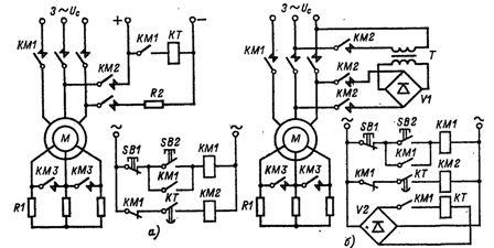 Схемы управления динамическим торможением асинхронных двигателей с фазным ротором с заданием времени при наличии и отсутствии сети постоянного тока