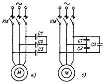 Узлы схем, осуществляющих конденсаторное торможение асинхронных двигателей