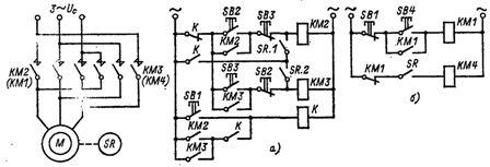 Узлы схемы управления торможения противовключением асинхронного двигателя с коооткозамкнутым ротором с контролем скорости при остановке в реверсивной и нереверсивной схемах