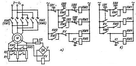 Узлы схем управления торможением противовключением асинхронных двигателей с фазным ротором с контролем скорости при реверсе и остановке