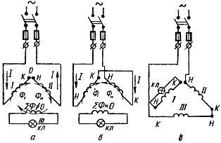 Определение начал и концов в фазных обмотках двигателя методом трансформации