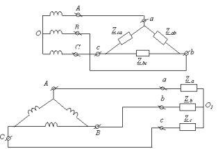 Фазные и линейные напряжения и токи при соединениях в звезду треугольник