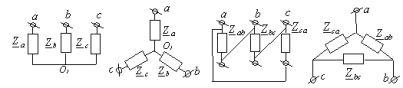 Соединения нагрузки в звезду и треугольник