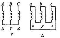 Схемы соединений обмоток трехфазных трансформаторов