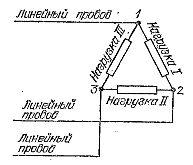 Соединение нагрузок треугольником при трехпроводной системе проводки
