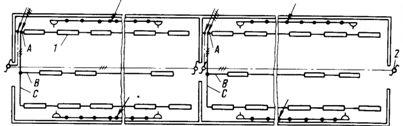 Освещение протяженного кабельного подвала: 1 - ЛСП02 без отражателя; 2 - переключатель