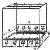 Разметка мест установки нескольких светильников в шахматном порядке