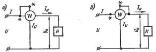 Схемы включения параллельной обмотки ваттметра