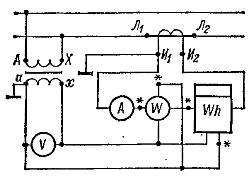 Схема включения электромеханических приборов через измерительные трансформаторы тока и напряжения