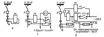 Схемы защиты от замыканий с действием на землю: а, б - на сигнал, в - на отключение