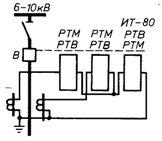 Схема защиты с двумя реле, включенными на фазные токи, и одним реле, включенным на разность токов