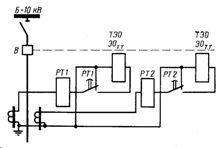 Схема защиты с дешунтированием электромагнитов отключения