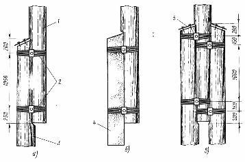 Способы сопряжения деревянных стоек опор с приставками (пасынками)