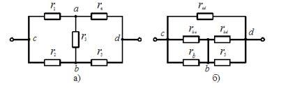 Преобразование элементов цепи: а - соединённых звездой, б - в эквивалентный треугольник