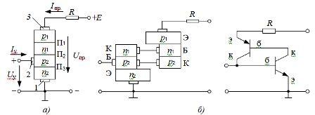 Структура (а) и двухтранзисторная схема замещения (б) триодного тиристора