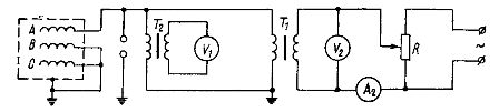 Схема испытания изоляции повышенным напряжением переменного тока