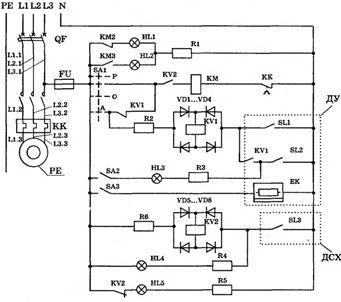 Принципиальная электрическая схема автоматизации погружным насосом по уровню воды в баке- водонапорной башни