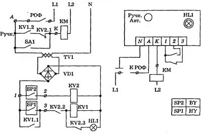Принципиальная электрическая схема управления башенной водоснабжающей установкой от электроконтактного манометра