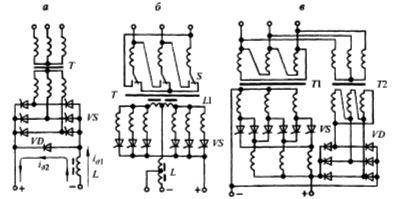 Схемы тиристорных сварочных выпрямителей