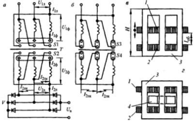 Сварочный выпрямитель управляемый трансформатором с увеличенным рассеянием: а, б - электрические схемы, в, г - конструкция трансформаторов.