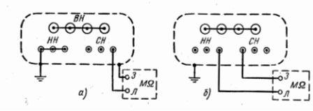 Рис. 1. Схемы измерения сопротивления изоляции обмоток трансформатора: a - относительно корпуса; б - между обмотками...