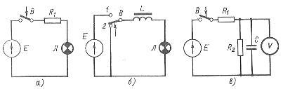Схемы цепей для иллюстрации переходных процессов: а - цепь без реактивных элекментов, б - цепь с катушкой индуктивности, в - цепь с конденсатором