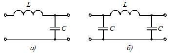 Схемы пассивных сглаживающих Г-образного (a) и П-образного (б) фильтров для уменьшения пульсации выпрямленного напряжения