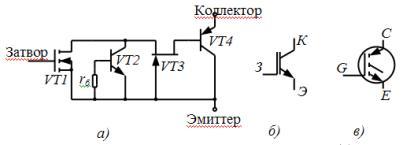 Эквивалентная схема IGBT-транзистора (а) и его условное обозначение в отечественной (б) и иностранной (в) литературе