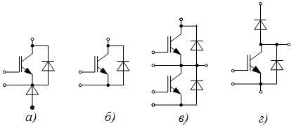Условные обозначения модулей на IGBT-транзисторах: а – МТКИД; б – МТКИ; в – М2ТКИ; г - МДТКИ